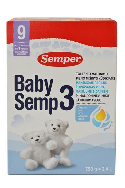 TOLESNIO MAITINIMO pieno mišinys BabySemp3, kūdikiams nuo 9 mėn., 350 g