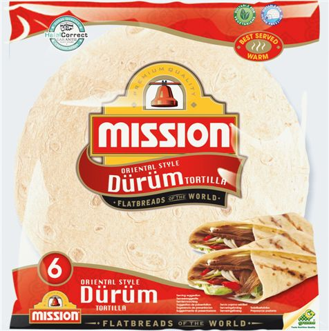 Tradicinis LAVAŠAS iš KIETŲJŲ KVIEČIŲ MILTŲ Durum, 25 cm, 6 vnt., Mission Food, 370 g