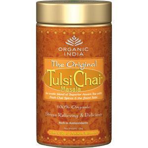 TULSI Chai Masala ekologiška arbata su prieskoniais (biri, skardinėje), 100g