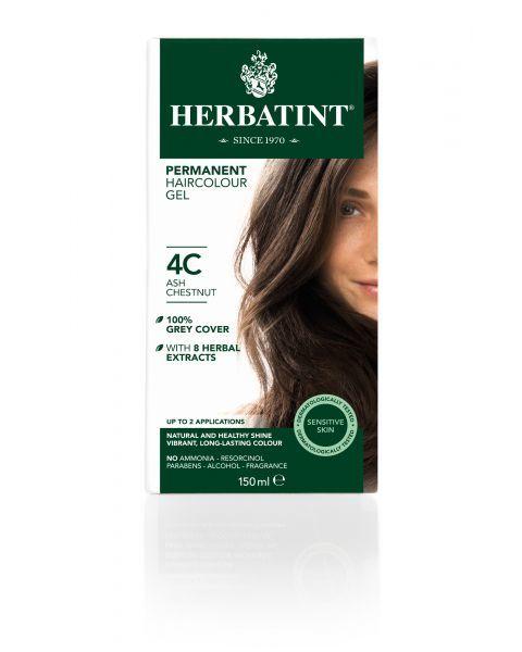 Plaukų dažai be amoniako HERBATINT su ekologiškais ekstraktais, 4C pelenų kaštonas, 150 ml