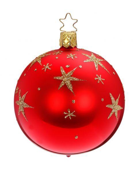 """Rankų darbo kalėdinis žaisliukas INGE-GLAS® """"Raudonas burbulas su aukso žvaigždėmis"""", 8 cm, 1 vnt."""