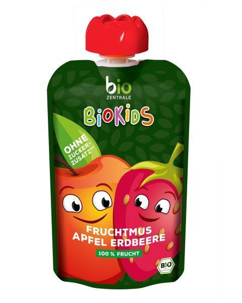 Ekologiška obuolių ir braškių tyrelė BIOKIDS, 90 g 2