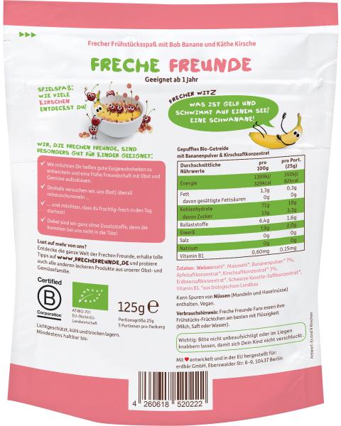 Ekologiški sausi pusryčiai su bananais ir vyšniomis vaikams FRECHE FREUNDE, 125 g 2
