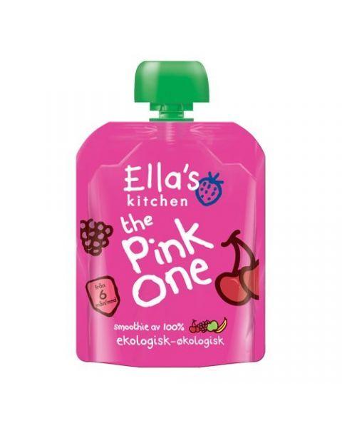 Ekologiška obuolių, bananų, vyšnių ir aviečių ELLA'S KITCHEN The Pink One tyrelė vaikams nuo 6 mėn., 90 g