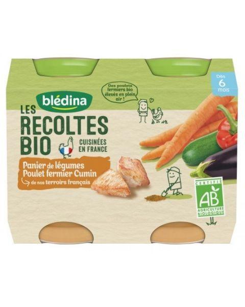 Daržovių ir kmynais pagardintos vištienos tyrelė BLEDINA nuo 6 mėn., 2x200 g