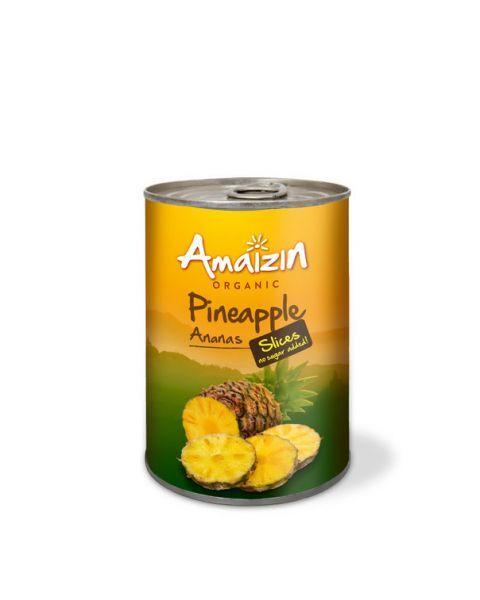 Ekologiški ananasų griežinėliai AMAIZIN savo sultyse, be pridėtinio cukraus, 400 g