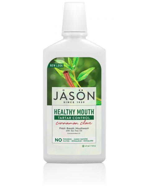 Nuo akmenų susidarymo saugantis burnos skalavimo skystis JASON su cinamonu ir arbatmedžio aliejumi, 473 ml