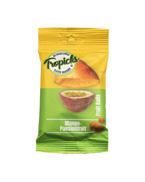 Džiovintų mangų, pasiflorų rutuliukai TROPICKS, 54g