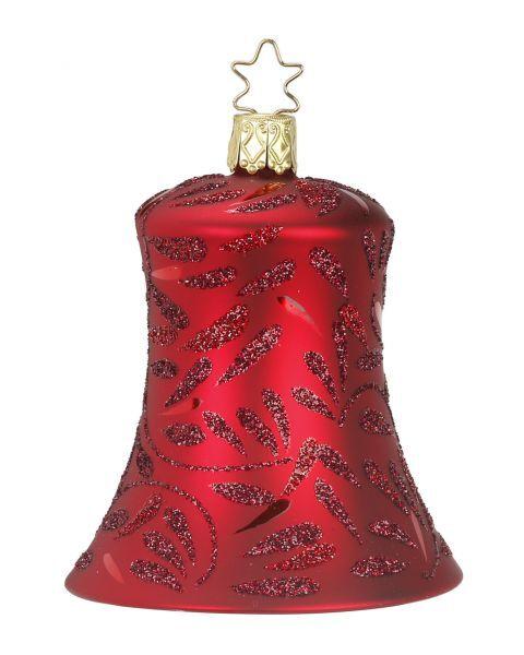 """Rankų darbo kalėdinis žaisliukas INGE-GLAS® """"Raudonas raštuotas varpelis"""", 8.5 cm, 1 vnt."""