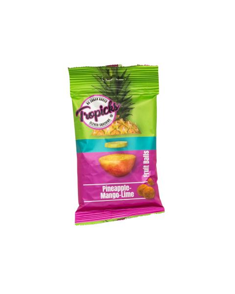 Džiovintų mangų, ananasų, laimo rutuliukai TROPICKS, 54g