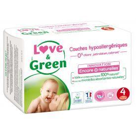 Ekologiškos sauskelnės LOVE&GREEN, 4 dydžio, 7-14 kg, 46 vnt.