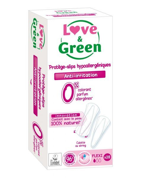 Ekologiški lanksčios formos kasdieniai įklotai LOVE&GREEN, 28 vnt.
