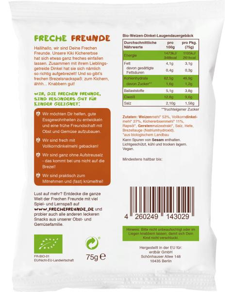 Ekologiški trapūs riestainiukai FRECHE FREUNDE su spelta ir avinžirniais, 75 g 2