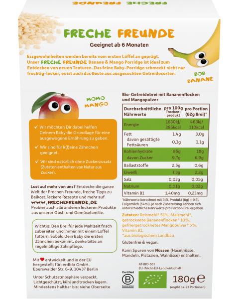 Ekologiška ryžių košė FRECHE FREUNDE su bananais ir mangais, nuo 6 mėn., 180 g 2