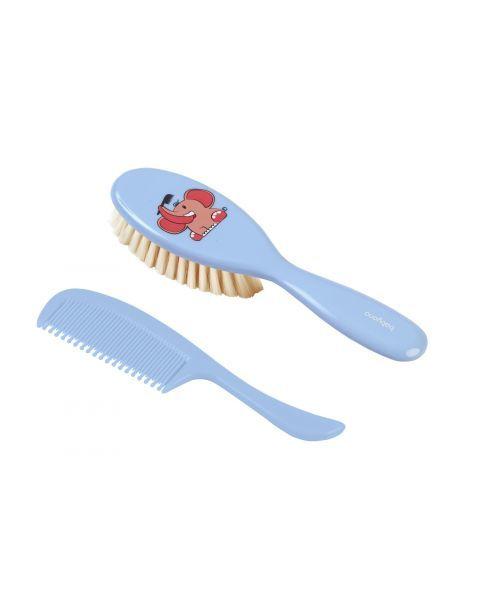 Plaukų šepetys BABYONO natūraliais šeriais + šukos kūdikiams nuo 0+ mėn. (568)