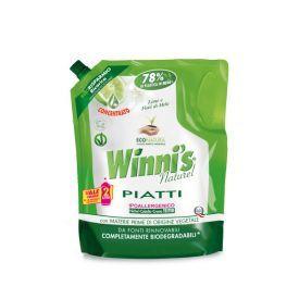 Koncentruotas indų ploviklis su žaliųjų citrinų aromatu minkštoje ekologiškoje pakuotėje WINNI'S, 1000ml