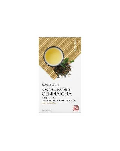 Ekologiška žalioji arbata su rudaisiais ryžiais GENMAICHA CLEARSPRING, 20 maišelių