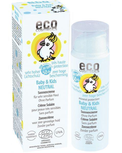Bekvapis kūdikių ir vaikų saulės kremas ECO COSMETICS SPF50+, 50 ml