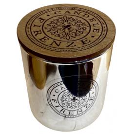 "Namų žvakė CANDELE FIRENZE ""Silver Metallic Glass Mediteraneo Fragrance"", 100x90 mm, 60 h, 1 vnt."