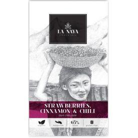 Juodasis šokoladas su braškėmis, cinamonu ir kajeno pipirais LA NAYA, 65%, 80g