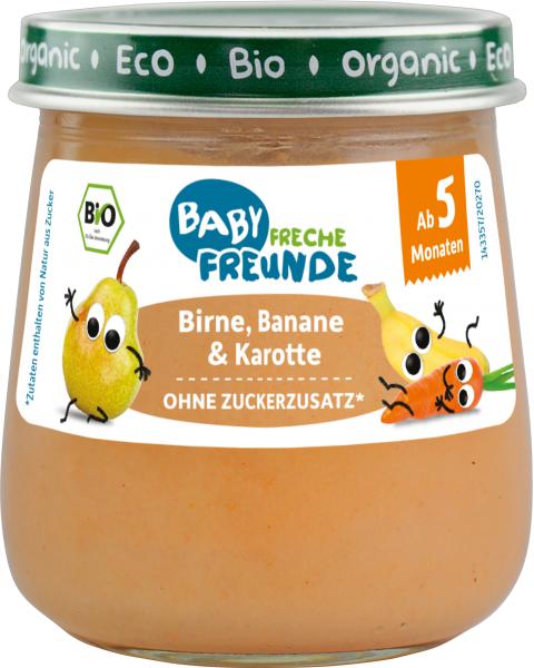 Ekologiška tyrelė FRECHE FREUNDE su kriaušėmis, bananais ir morkomis, nuo 5 mėn., 120g, stiklas
