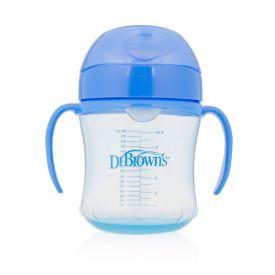 Mėlyna mokomoji gertuvė DR.BROWN'S su rankenėlėmis nuo 6 mėn., 180 ml