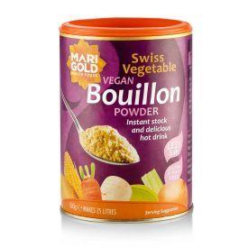 MARIGOLD tirpus šveicariškas daržovių sultinys veganams, silpnai sūdytas (violetinė dėžutė), neto masė 500g