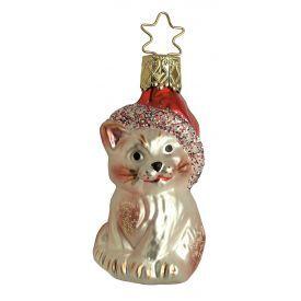 """Rankų darbo kalėdinis žaisliukas INGE-GLAS® """"Kalėdinis kačiukas Kringle"""", 7 cm, 1 vnt."""