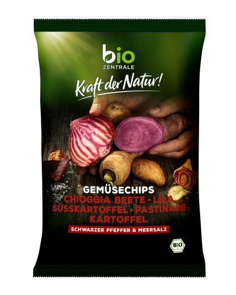 Ekologiški daržovių traškučiai su juodaisiais pipirais ir jūros druska BIOZENTRALE, 80g