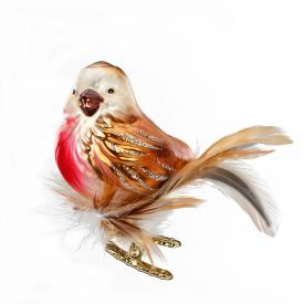 """Rankų darbo kalėdinis žaisliukas INGE-GLAS® """"Paukščiukas liepsnelė"""", 7 cm, 1 vnt."""
