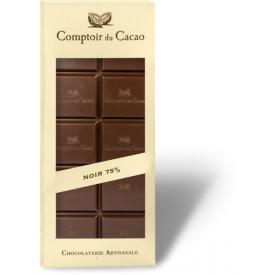 Juodasis šokoladas 75% COMPTOIR du CACAO, be cukraus, 80 g
