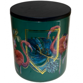 "Namų žvakė CANDELE FIRENZE ""Glass Phantasy Green Flamingo"" (anyžius, bazilikas), 90x100 mm, 60 h, 1 vnt."