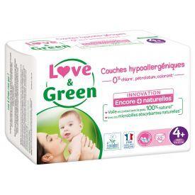 Ekologiškos sauskelnės LOVE&GREEN, 4+ dydžio, 9-20 kg, 42 vnt.
