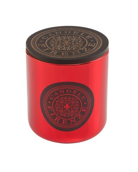 "Namų žvakė CANDELE FIRENZE ""Red Metallic Glass Fiorentino Fragrance"", 100x90 mm, 60 h, 1 vnt."