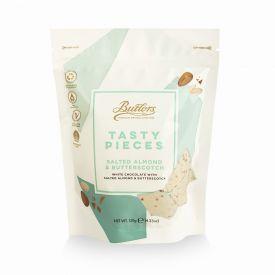 Baltojo šokolado gabalėliai BUTLERS su sūdytais migdolais ir irisais, 120 g