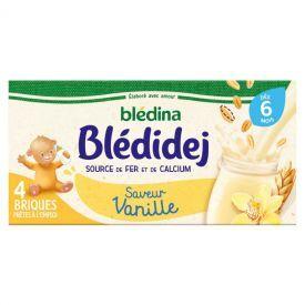 Pieno ir dribsnių gėrimas BLEDINA vanilės skonio, nuo 6 mėnesių, 4x250 ml, paruoštas vartoti