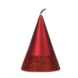 """Namų žvakė CANDELE FIRENZE """"Red Velvet/Band Red Glitter Cono"""", 150x100 mm, 36 h, 1 vnt."""