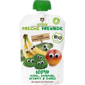 Ekologiška obuolių, bananų, špinatų ir agurkų tyrelė FRECHE FREUNDE, 100 g