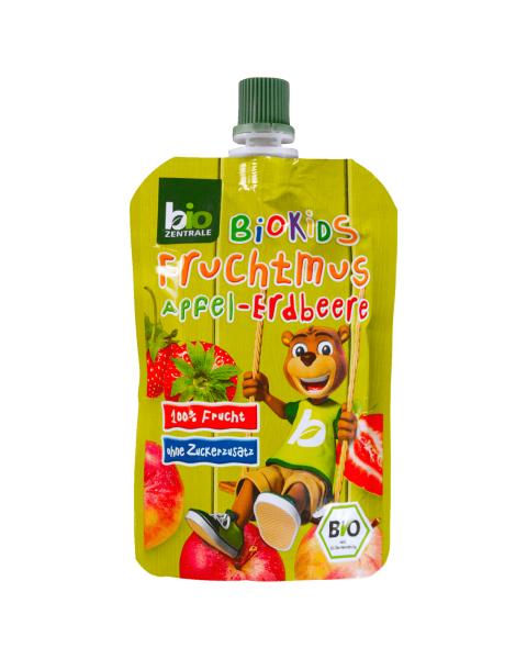 Ekologiška obuolių ir braškių tyrelė BIOKIDS, 90 g