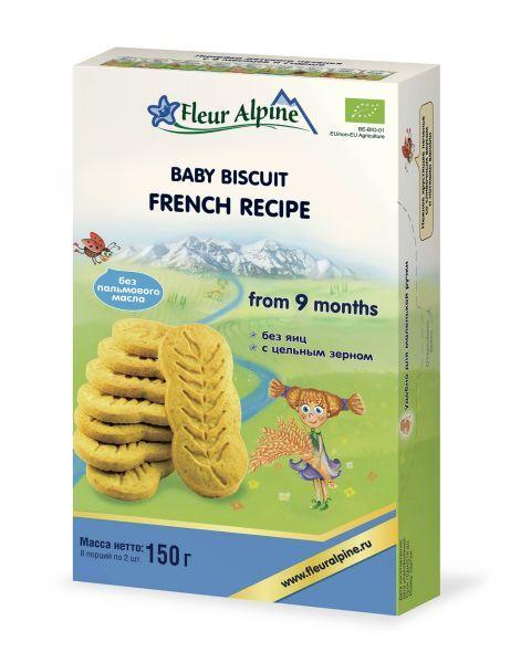 Ekologiški tirpūs prancūziški sausainiai kūdikiams nuo 9 mėn. FLEUR ALPINE, 150 g