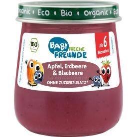 Ekologiška tyrelė FRECHE FREUNDE su obuoliais, braškėmis ir mėlynėmis, nuo 6 mėn., 120g, stiklas