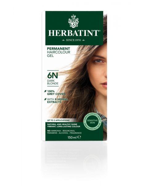 Plaukų dažai be amoniako HERBATINT su ekologiškais ekstraktais, 6N tamsi blondinė, 150 ml