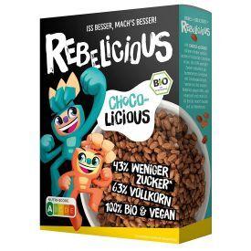 Ekologiški sausi pusryčiai vaikams su šokoladu REBELICIOUS, 275 g