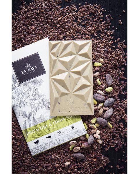 Baltasis šokoladas su pistacijomis ir skaldyta kakava LA NAYA, 35%, 80g 2