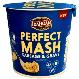 Greito paruošimo bulvių košė IDAHOAN dešrelių ir padažo skonio, indelyje, 55 g