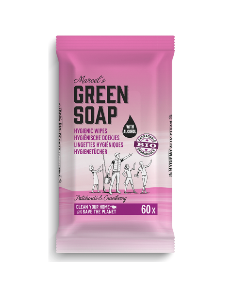 Valymo servetėlės MARCELS GREEN SOAP su pačiuliais ir spanguolėmis, 60 vnt.
