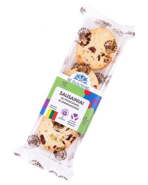 Sausainiai su pistacijomis ir spanguolėmis, be gliuteno, 160g