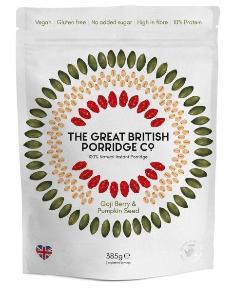 Greito paruošimo avižinė košė THE GREAT BRITISH PORRIDGE CO su uogomis ir moliūgų sėklomis, 385 g