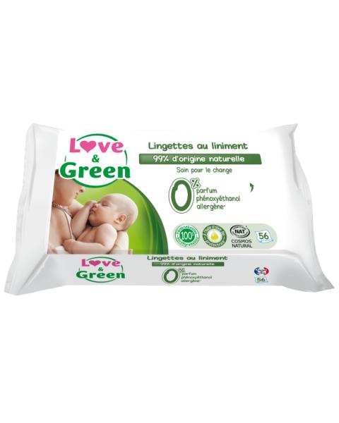 Ekologiškos kremu prisodrintos servetėlės kūdikiams LOVE&GREEN, 56 vnt.