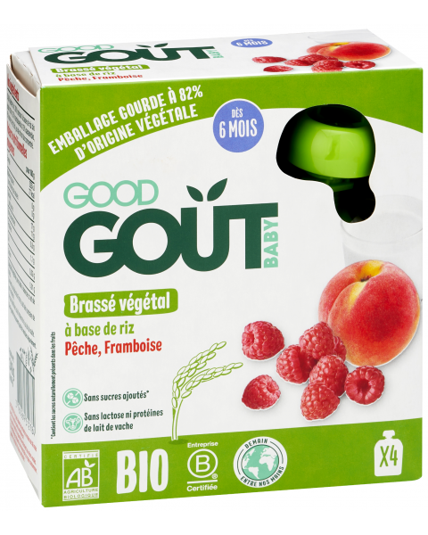 Ekologiškos tyrelės GOOD GOUT ryžių pieno, persikų, aviečių skonio, 4x85g., nuo 6 mėnesių